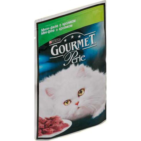 Gourmet PERLE (Гурмет Перл) - Пауч с мини - кусочками филе кролика в желе для кошек