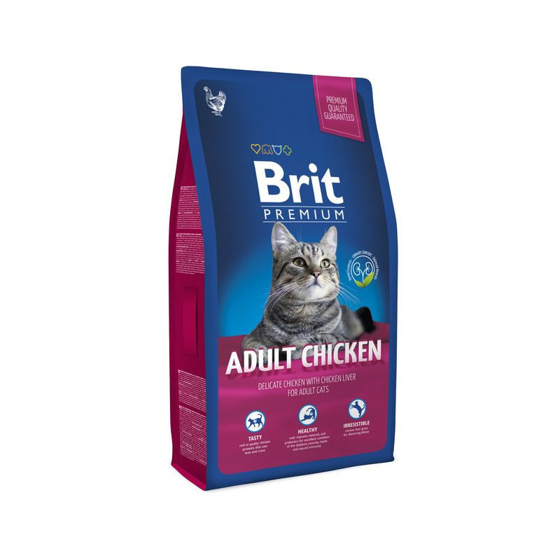 Brit Premium (Брит Премиум) ADULT Сhicken - Сухой корм с курицей для взрослых кошек
