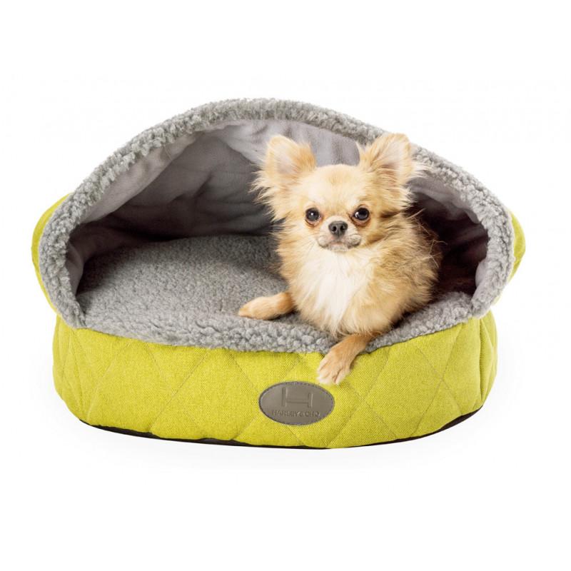 Лежак с капюшоном рогожка + мех HARLEY & CHO для собак и котов