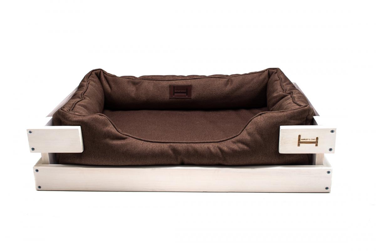 Лежак в каркасе мебельная рогожка (тёмное дерево) HARLEY & CHO DREAMER для котов и собак - Фото 2