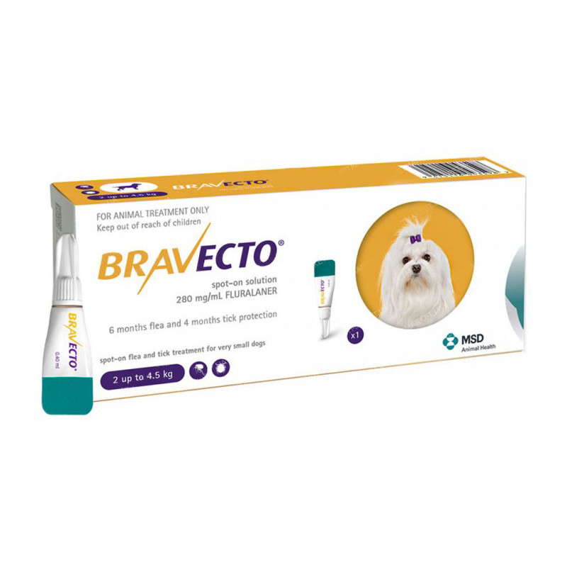 Bravecto (Бравекто) by MSD Animal Health - Bravecto Spot-On. Противопаразитарные капли Бравекто Спот-Он от блох и клещей для собак весом от 2 до 4,5 кг, 1 пипетка