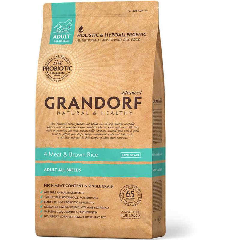 Grandorf (Грандорф) Holistic 4 Meat & Brown Rice - для всех пород 4 вида мяса с бурым рисом и пробиотиками