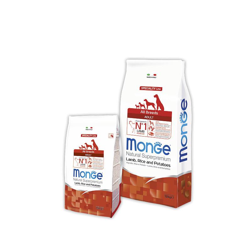 Сухой корм Monge All Breeds Adult для взрослых собак всех пород с ягненком, рисом и картофелем