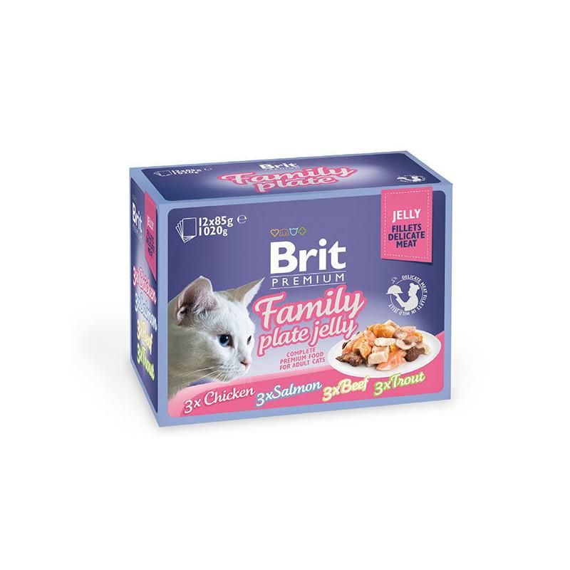 Brit Premium (Брит Премиум) Cat Family Plate Jelly - Набор паучей