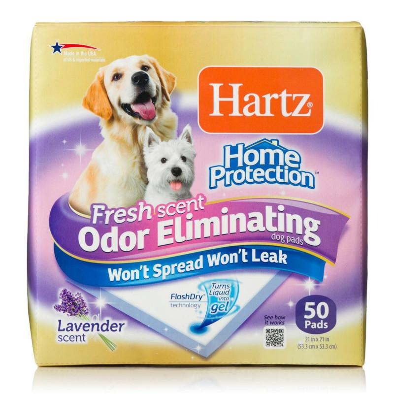 Hartz (Хартц) HOME PROTECTION ODOR ELIMINATING - Пеленки для щенков и собак с уничтожителем запаха и ароматом лаванды