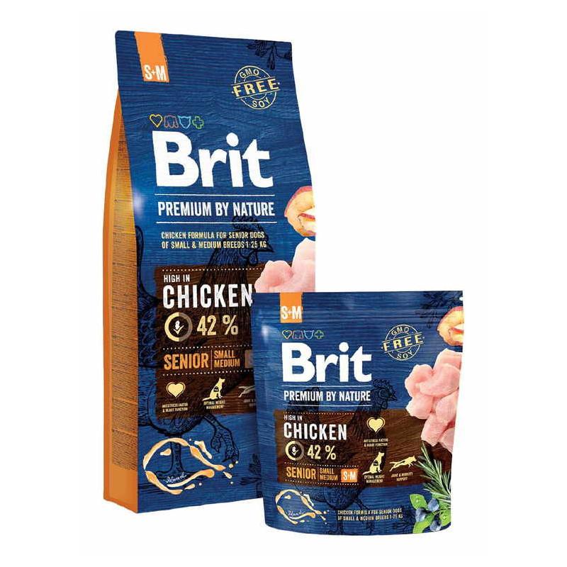 Brit Premium (Брит Премиум) by Nature SENIOR S+M - Сухой корм с курицей для стареющих собак мелких и средних пород