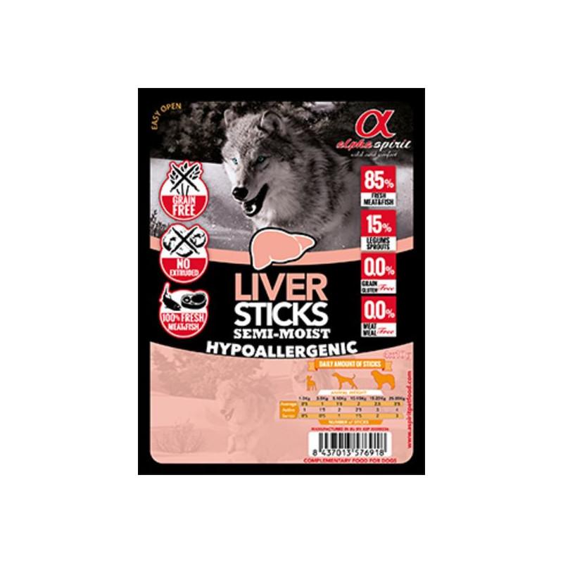 Alpha Spirit (Альфа Спирит) Sticks Liver&Chicken - полувлажное лакомство для собак, палочки со свиной печенью и курицей