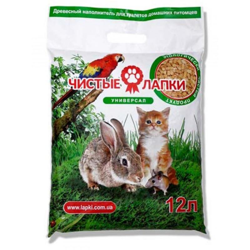 Чистые лапки универсал - Древесный наполнитель универсальный для котов, грызунов и птиц