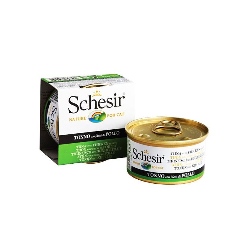 Schesir Tuna & Chicken консерва для котов с тунцом и курицей