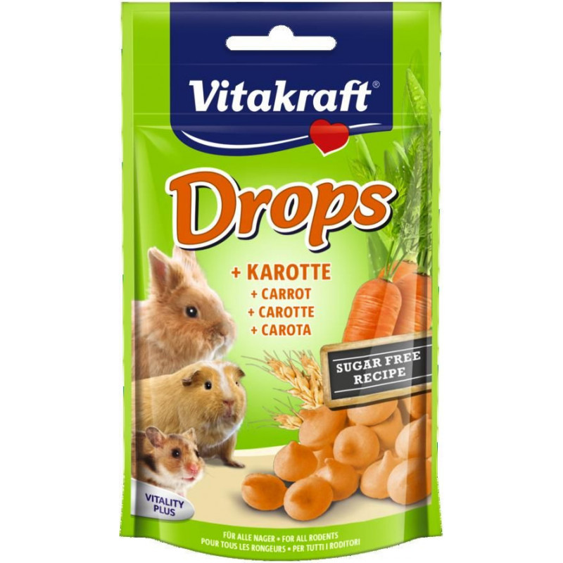 Лакомство-драже VITACRAFT DROPS для всех видов грызунов с морковью