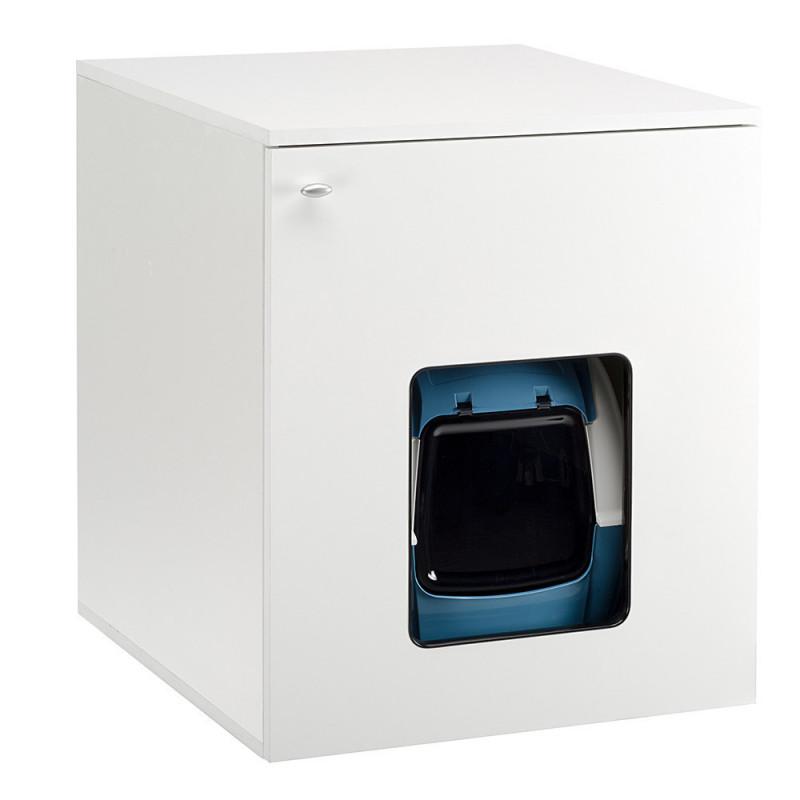 Ferplast (Ферпласт) Cat Cabinet - Тумбочка деревянная для кошачьего туалета и аксессуаров на магнитной защелке