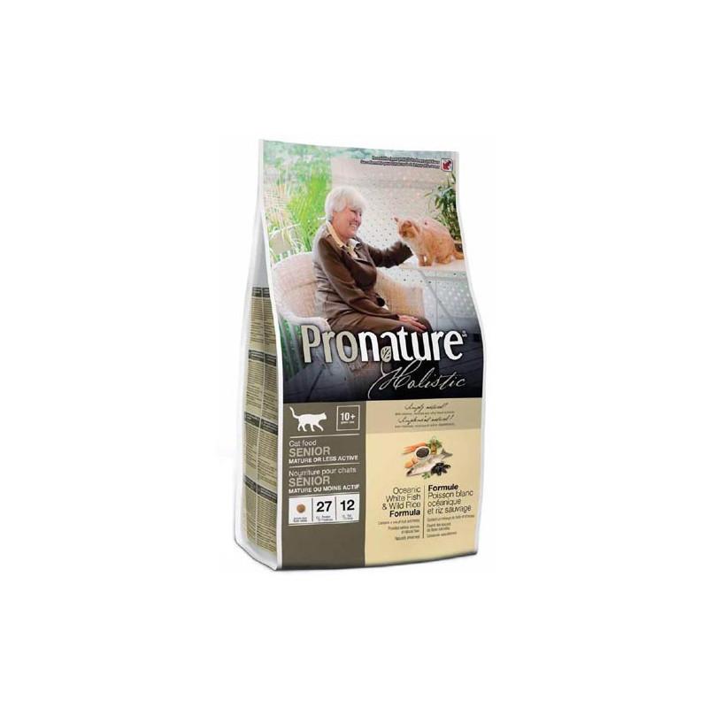 Pronature Holistic (Пронейчер Холистик). Сухой корм с белой рыбой и рисом для пожилых/малоактивных кошек