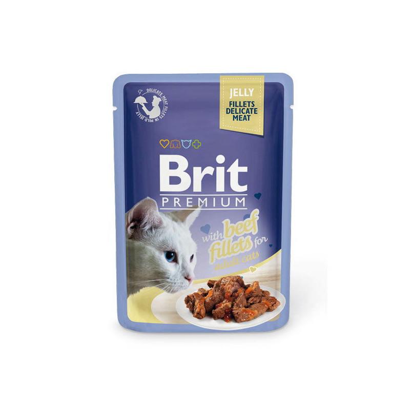 Brit Premium Cat (брит Премиум Кэт) Beef fillets Jelly. Влажный корм с кусочками из филе говядины в желе для кошек