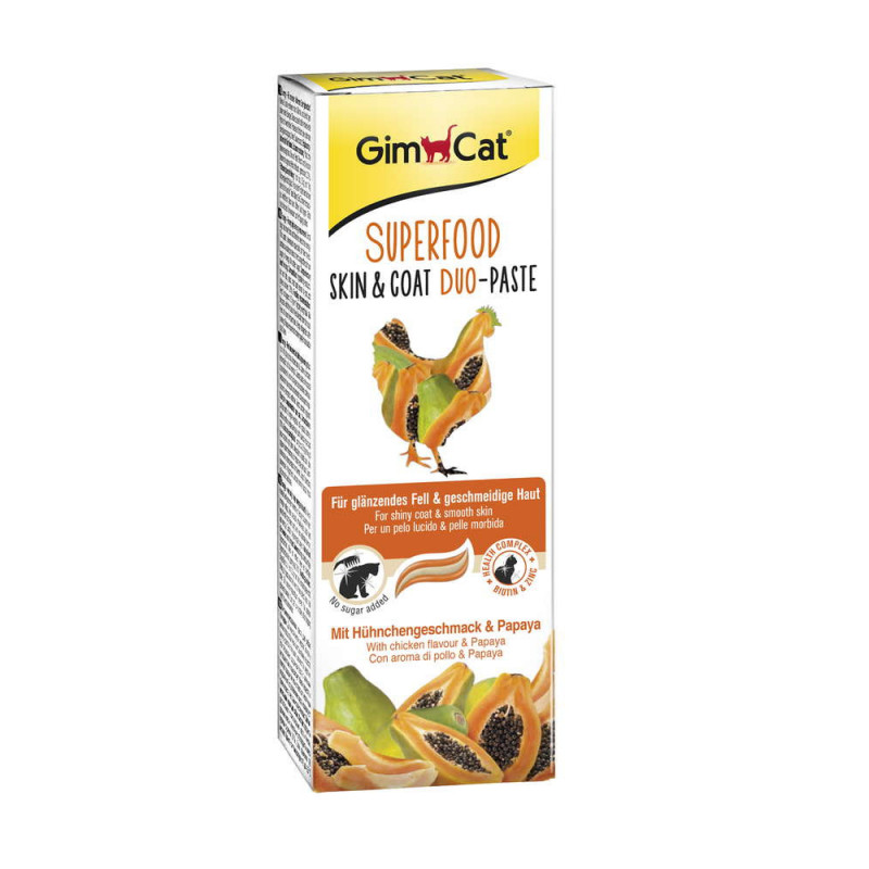 GimCat (ДжимКэт) SUPERFOOD Skin&Coat Duo-Paste - Дуо-паста для кожи и шерсти с курицей и папайей