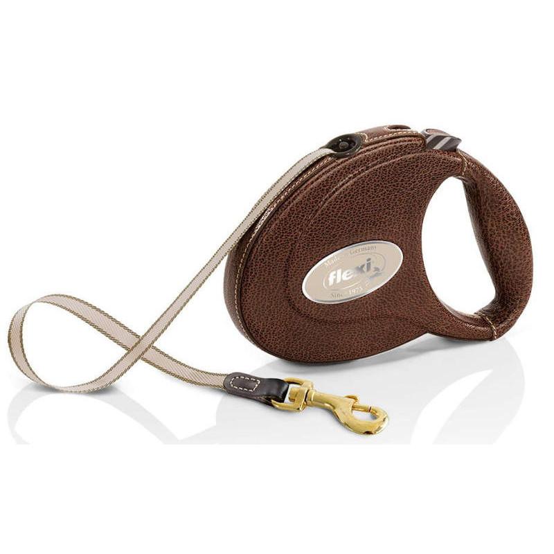 Flexi (Флекси) Leather М - Кожаный поводок-рулетка для собак, лента (5м , до 25 кг)