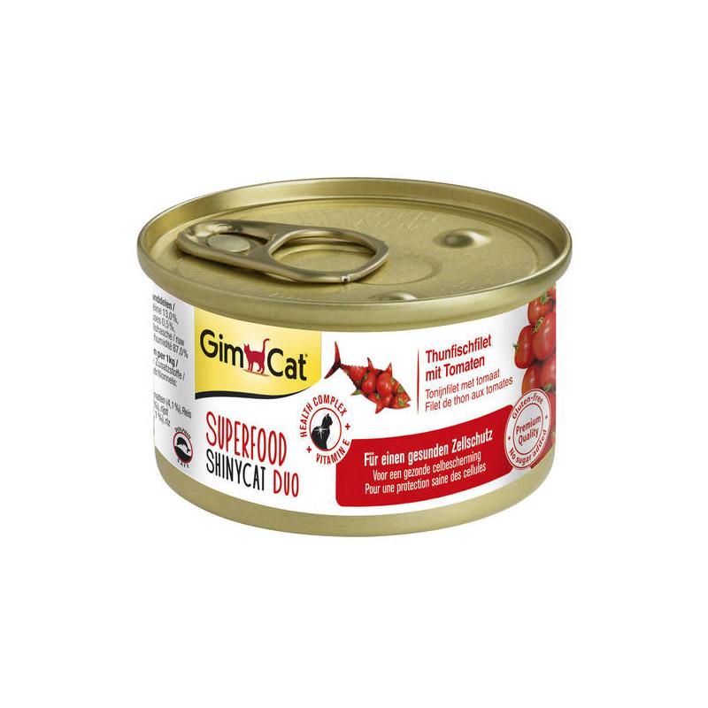 GimCat (ДжимКэт) SUPERFOOD ShinyCat Duo - Консервированный корм паштет с тунцом и томатами для котов