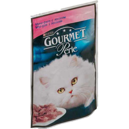 Gourmet PERLE (Гурмет Перл) - Пауч с мини-кусочками филе лосося в желе для кошек