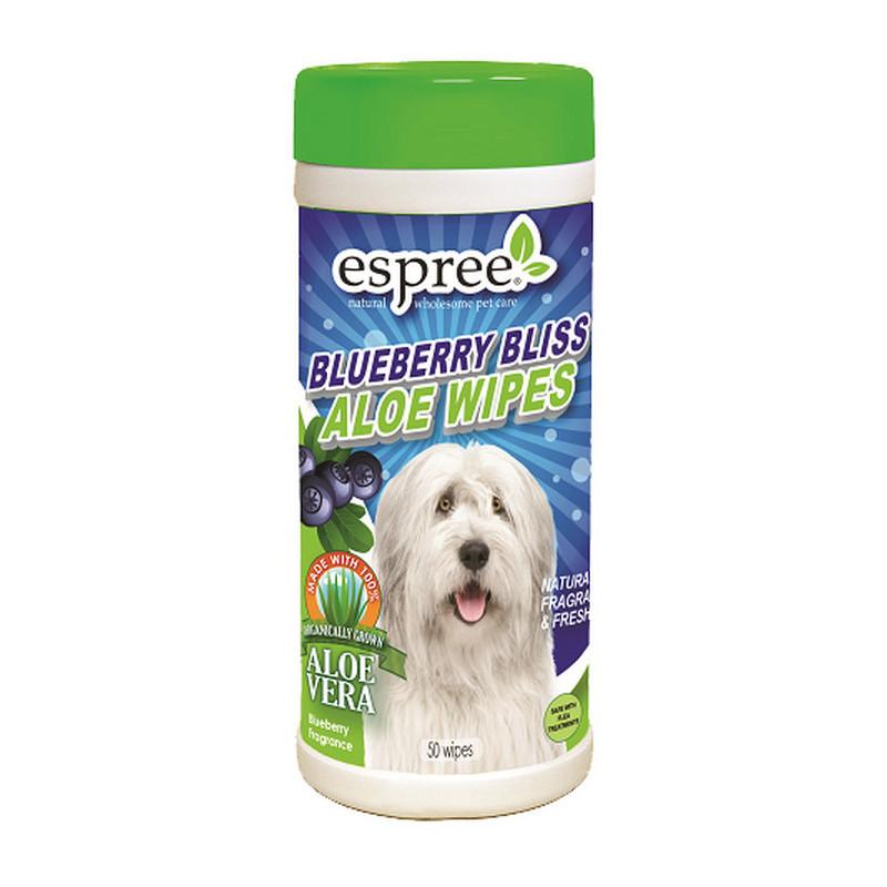 ESPREE (Эспри) Blueberry Bliss Wipes - Влажные салфетки с алоэ вера и экстрактом черники для собак