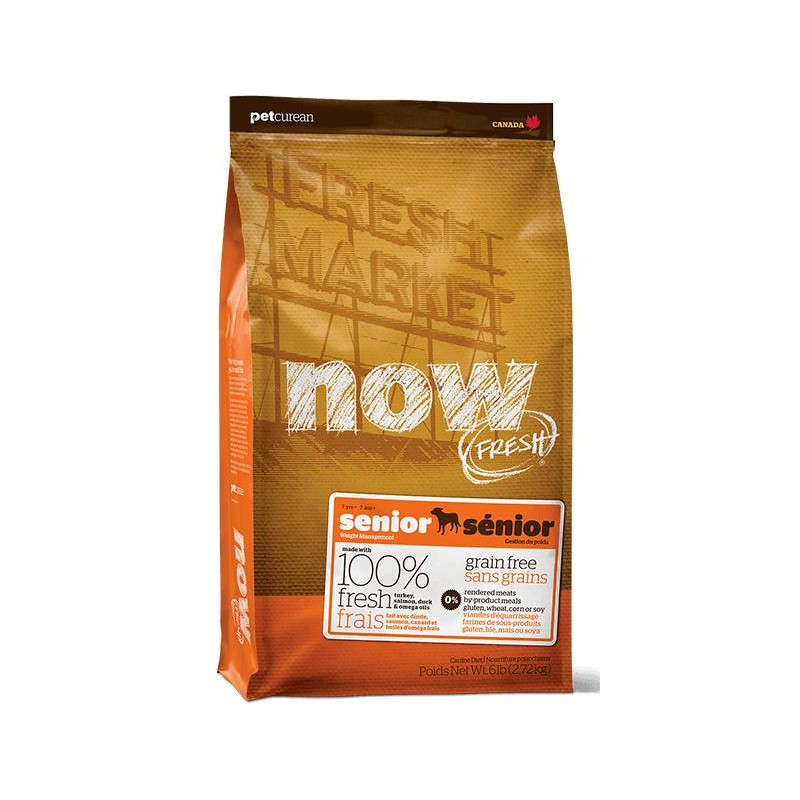 NOW FRESH™ (Нау Фреш) Senior Recipe Grain Free. Сухой беззерновой корм с индейкой, уткой и лососем для стареющих собак различных пород