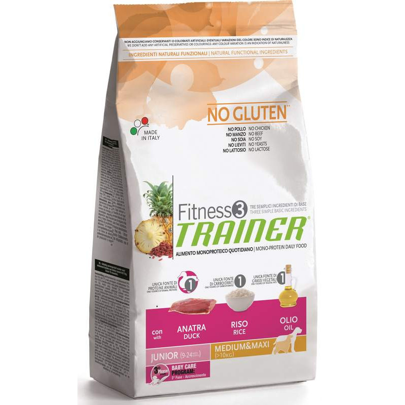 Trainer (Трейнер) Fitness 3 Puppy Medium/Maxi With Duck Rice Oil  - Сухой корм для щенков крупных и средних пород (утка)