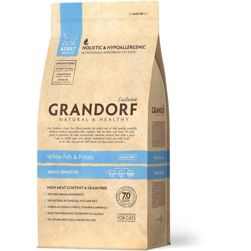 Grandorf (Грандорф) Holistic White Fish&Potato - БЕЛАЯ РЫБА С КАРТОФЕЛЕМ сухой корм для котов с чувствительным пищеварением