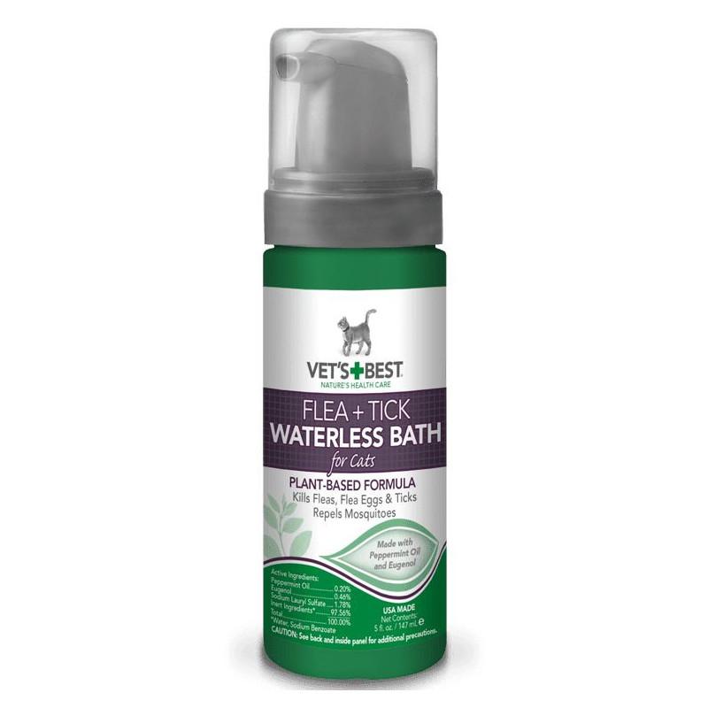 VET`S BEST (Ветс Бест) Flea And Tick Waterless Bath Foam For Cats Моющая пена от блох и клещей для кошек