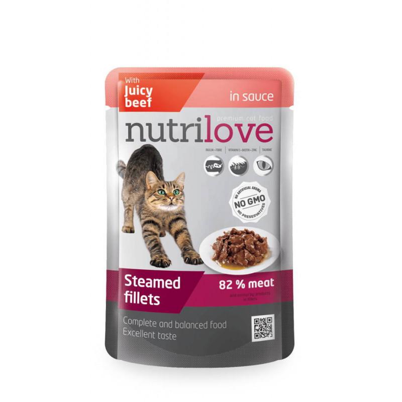 Nutrilove (Нутрилав) Beef in sauce - Консервы с нежной говядиной в соусе для кошек