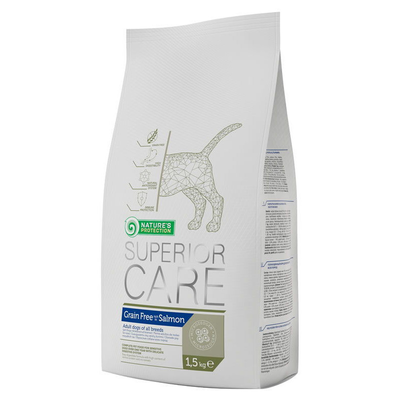 Nature's Protection Superior Care Grain Free Salmon - сухой беззерновой корм для взрослых собак с лососем