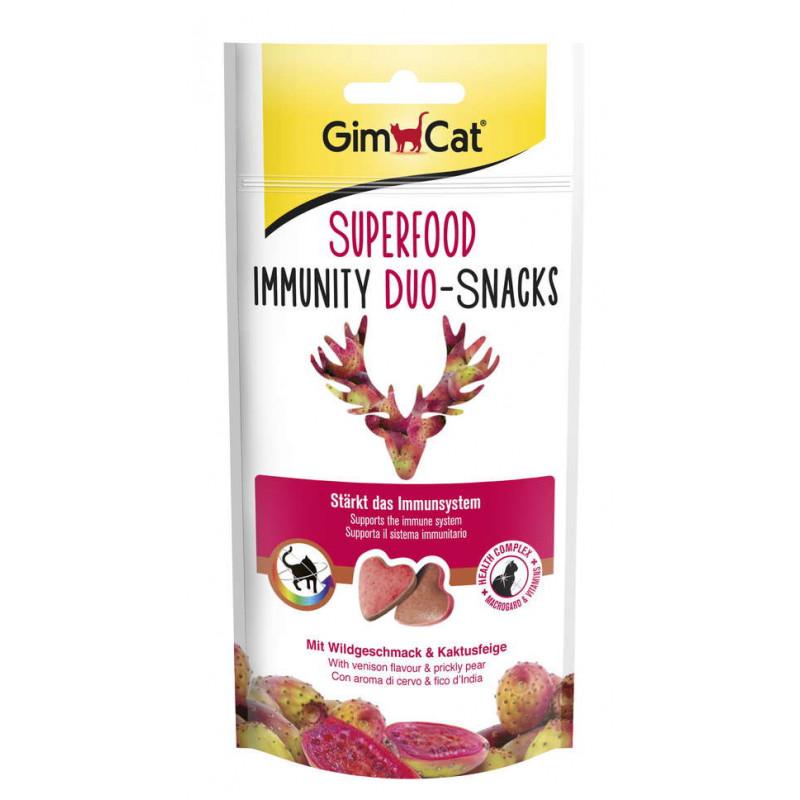 GimСat (ДжимКэт) SUPERFOOD Immunity Duo-snakcs - Лакомство для котов с дичью и опунцией для поддержания иммунитета