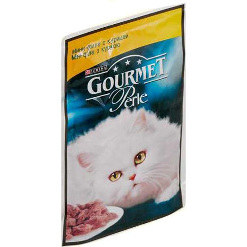 Gourmet PERLE (Гурмет Перл) - Пауч с мини-кусочками филе курицы в желе для кошек