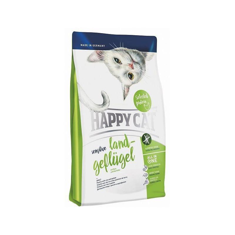 Happy Cat Sensitive Land-Geflugel - сухой корм для котов с чувствительным пищеварением (вкус-курица)