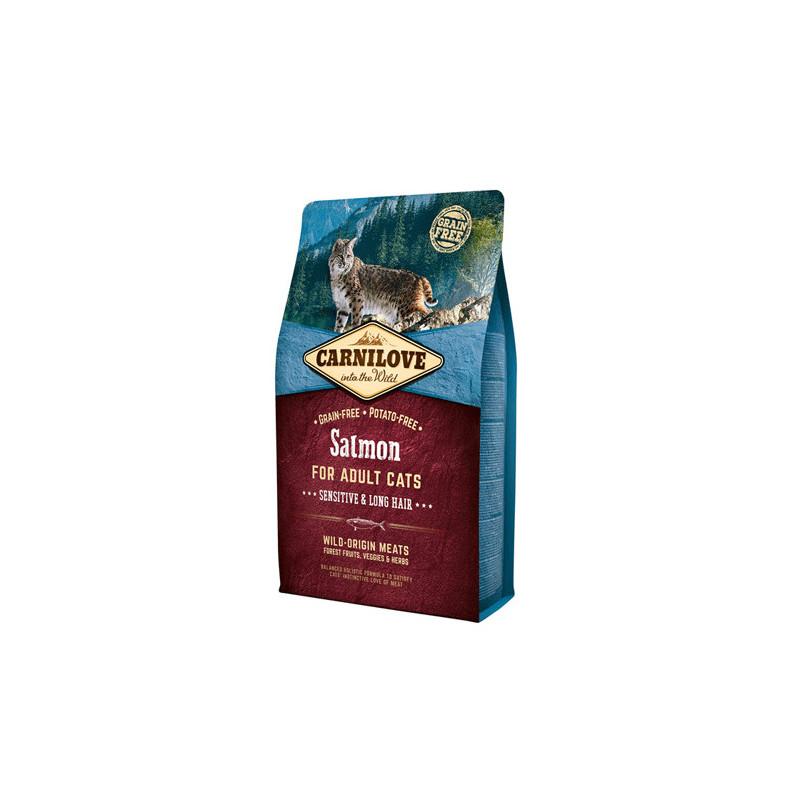 Carnilove (Карнилав) Salmon for Adult Cats Sensitive & Long-Hair - Сухой корм с лососем для котов с длиной шерстью
