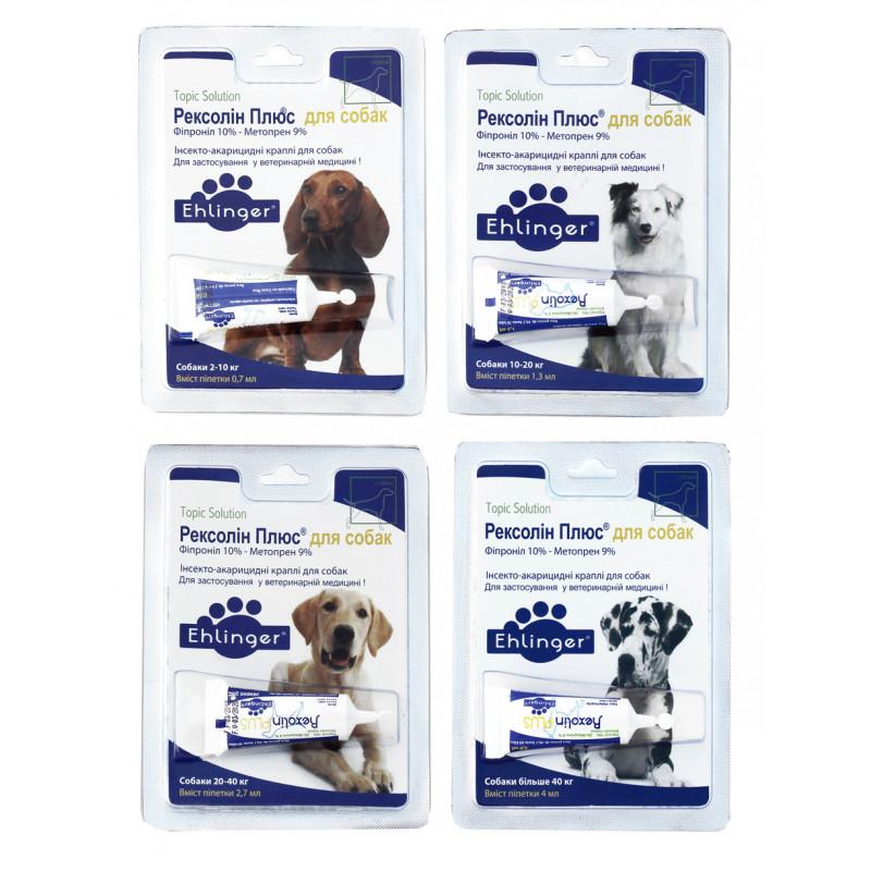 Rexolin Plus (Рексолин плюс) by Centrovet. Противопаразитарные капли на холку Рексолин Плюс от блох и клещей для собак, 1 пипетка