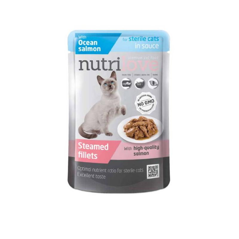 Nutrilove (Нутрилав ) Sterile Ocean Salmon in sauce - Консервы для стерилизованных котов и кошек, океанический лосось в соусе