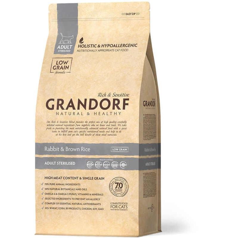 Grandorf (Грандорф) Rabbit & Brown Rice ADULT STERILIZED - Сухой корм с кроликом и рисом для стерилизованных кошек