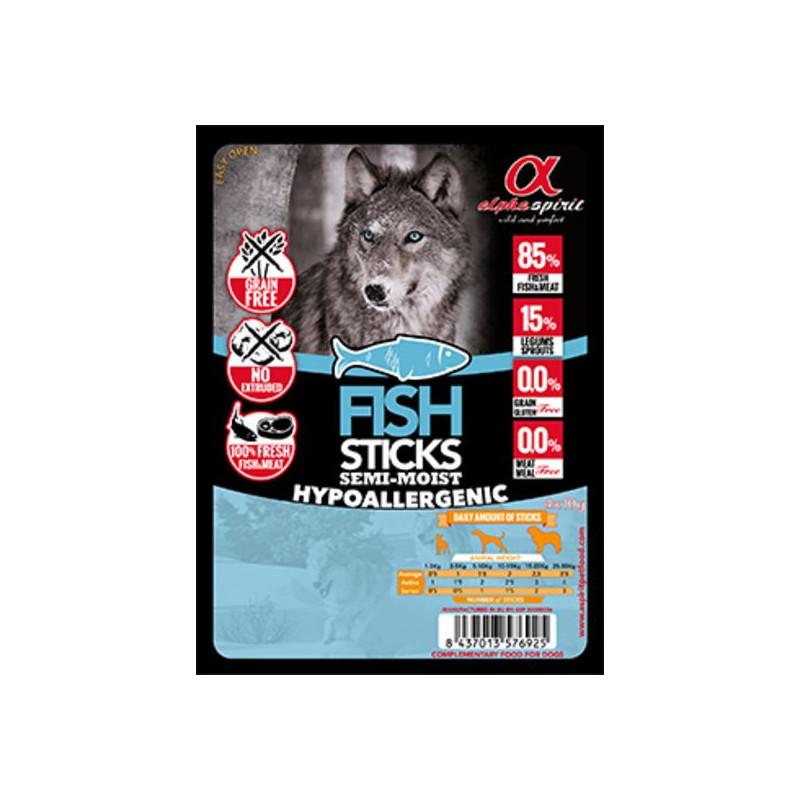 Alpha Spirit (Альфа Спирит) Sticks Fish&Chicken - полувлажное лакомство для собак, палочки  с рыбой и курицей